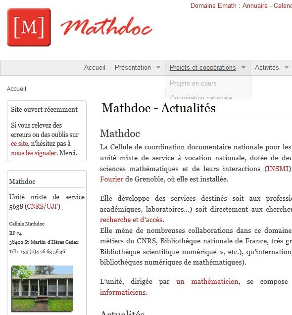 Page accueil Web Mathdoc